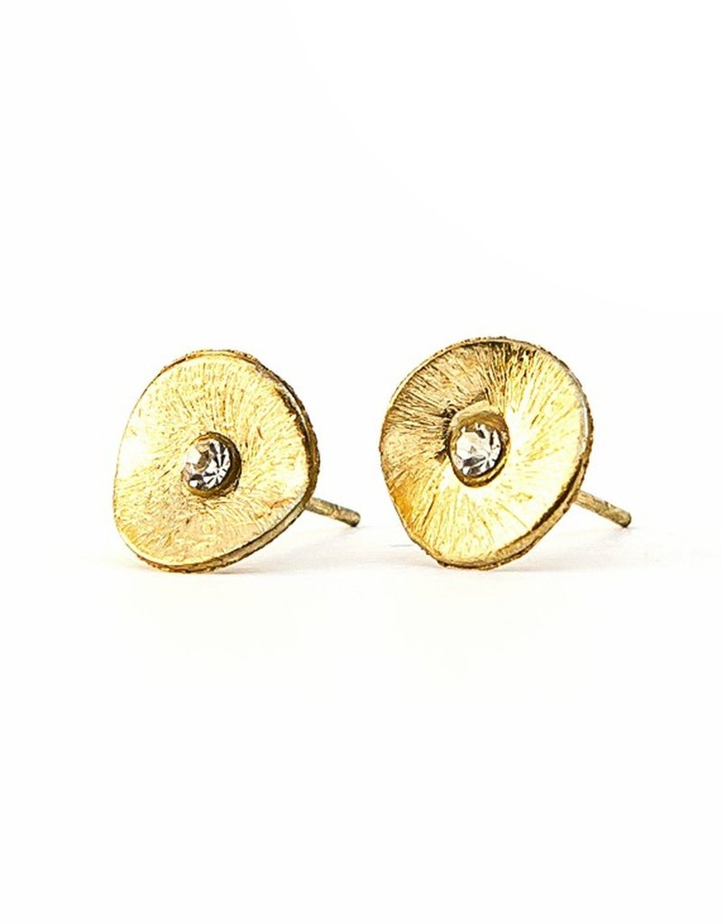 India, Poppy Studs, Gold Color