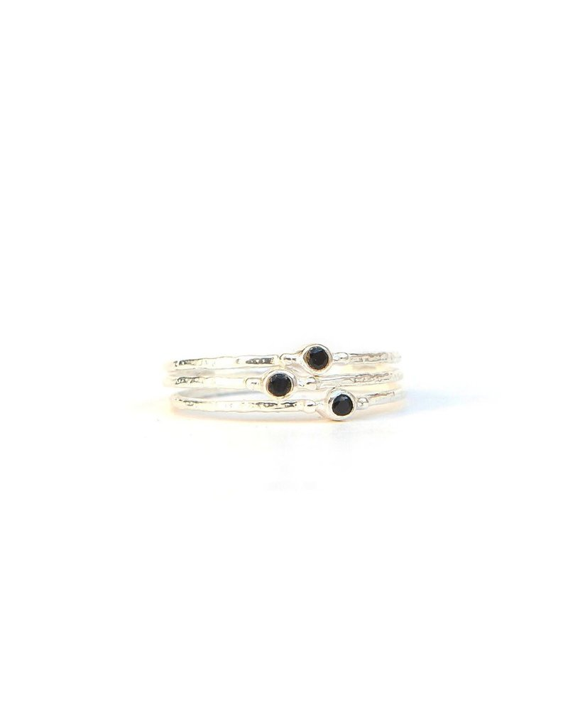 Mexico, Tiny Stone Sterling Ring, Black Crystal