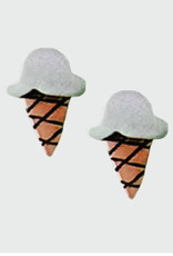 Sterling Silver Ice Cream Cone Post Earrings
