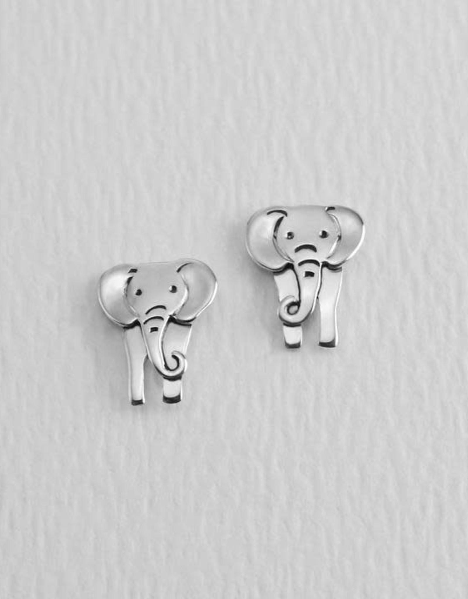 Sterling Silver  Elephant Post Earrings