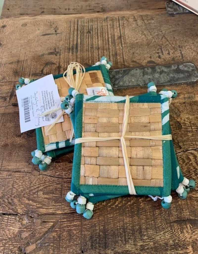 Ghana, Water Hyacinth Coasters, Indigo, Green, Black