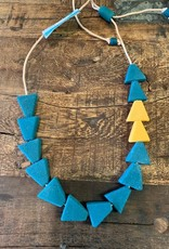 Ghana, Recycled Glass Necklace Teal, Mustard