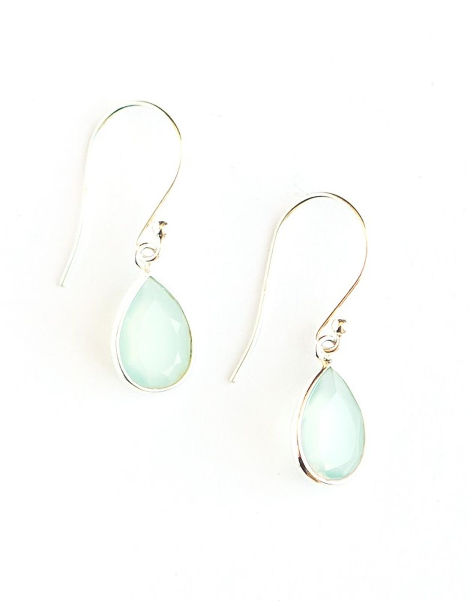 Raindrop Sterling Earrings--Aqua Chalcedony