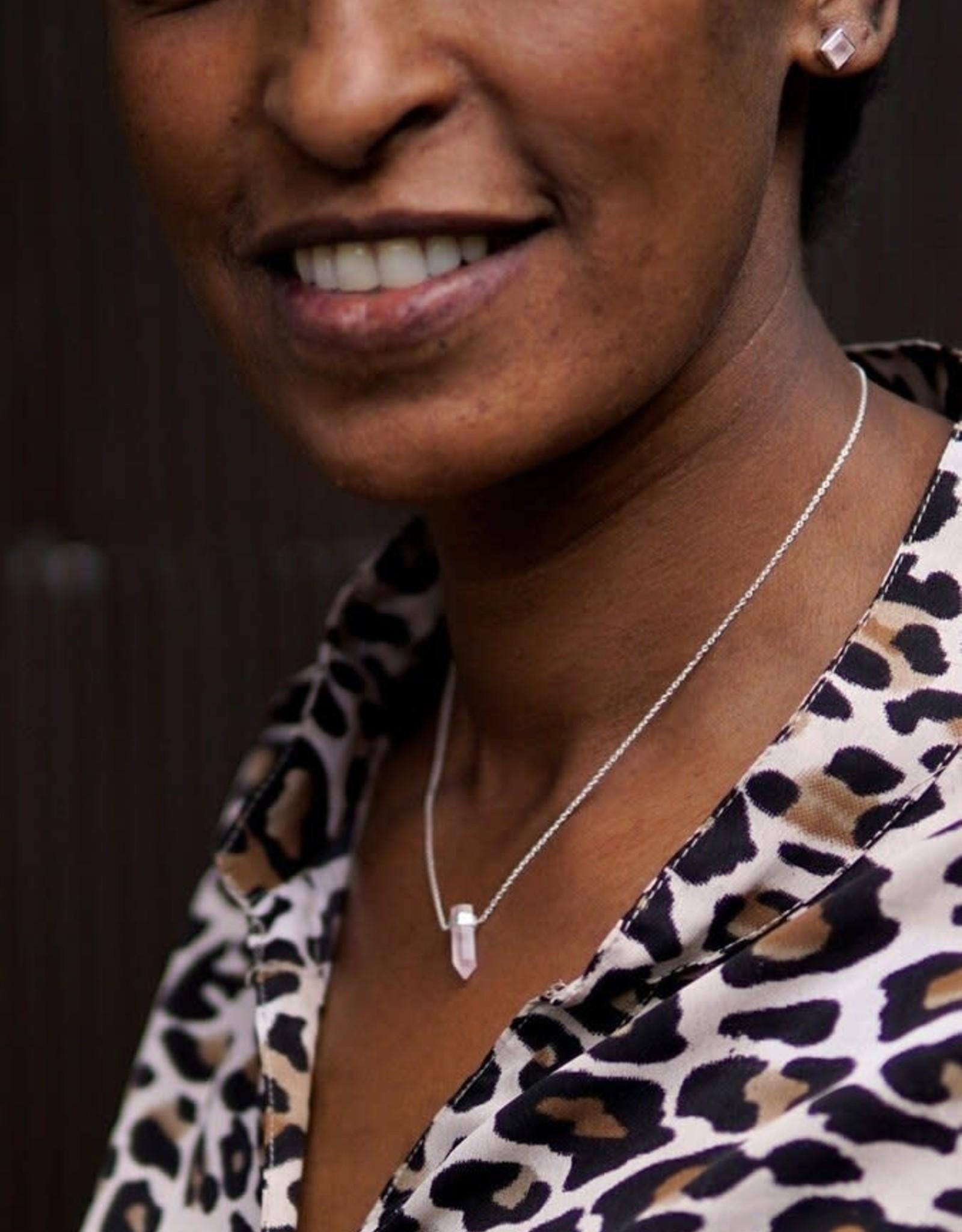 India, Natural Sterling Silver Rose Quartz Necklace
