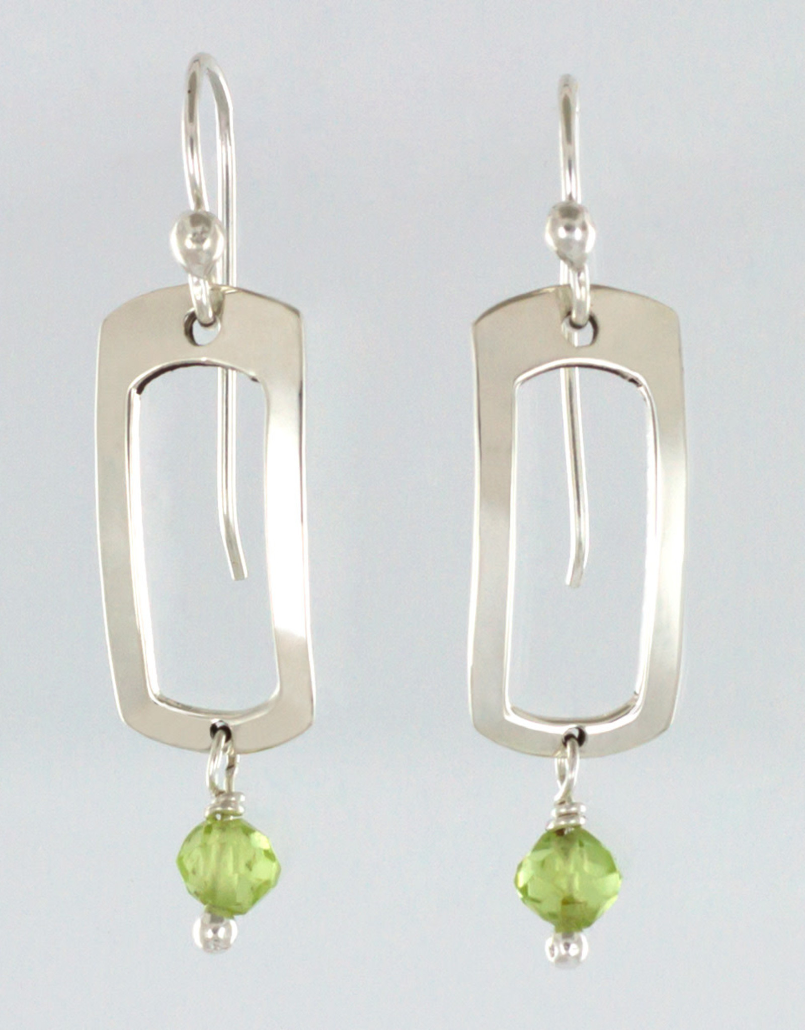 Cutout Rectangle w/Peridot Earrings