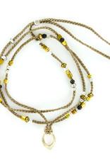 Necklace/Wrap bracelet w/ silk cord Grey