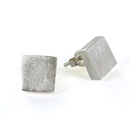 SS, Brushed Silver Chunky Post Earrings, Mexico