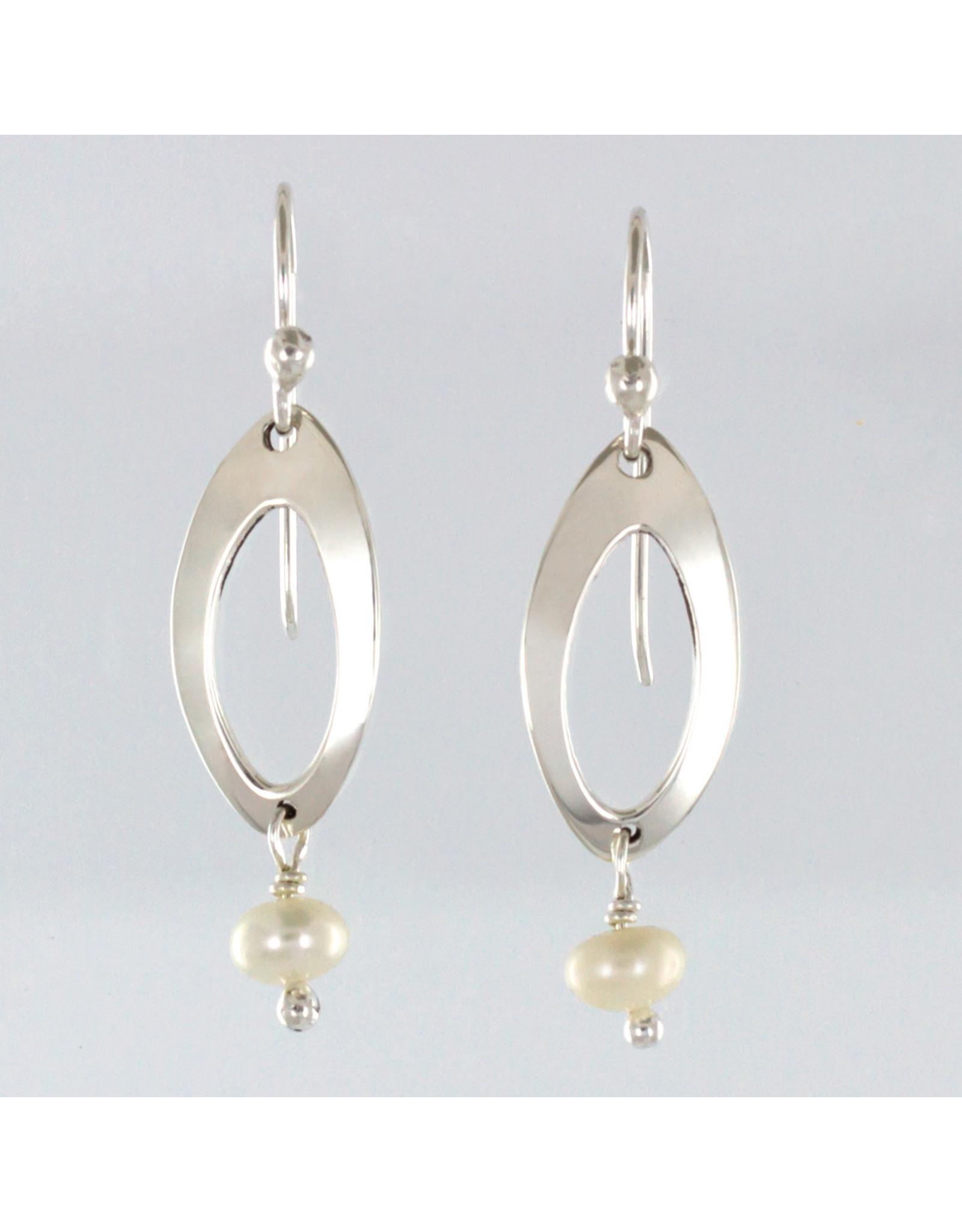Sterling Oval w/ Freshwater Pearl Earrings, Mexico