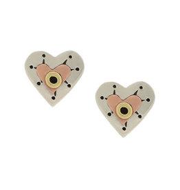 Sterling Silver Heart Post Earrings, Mexico