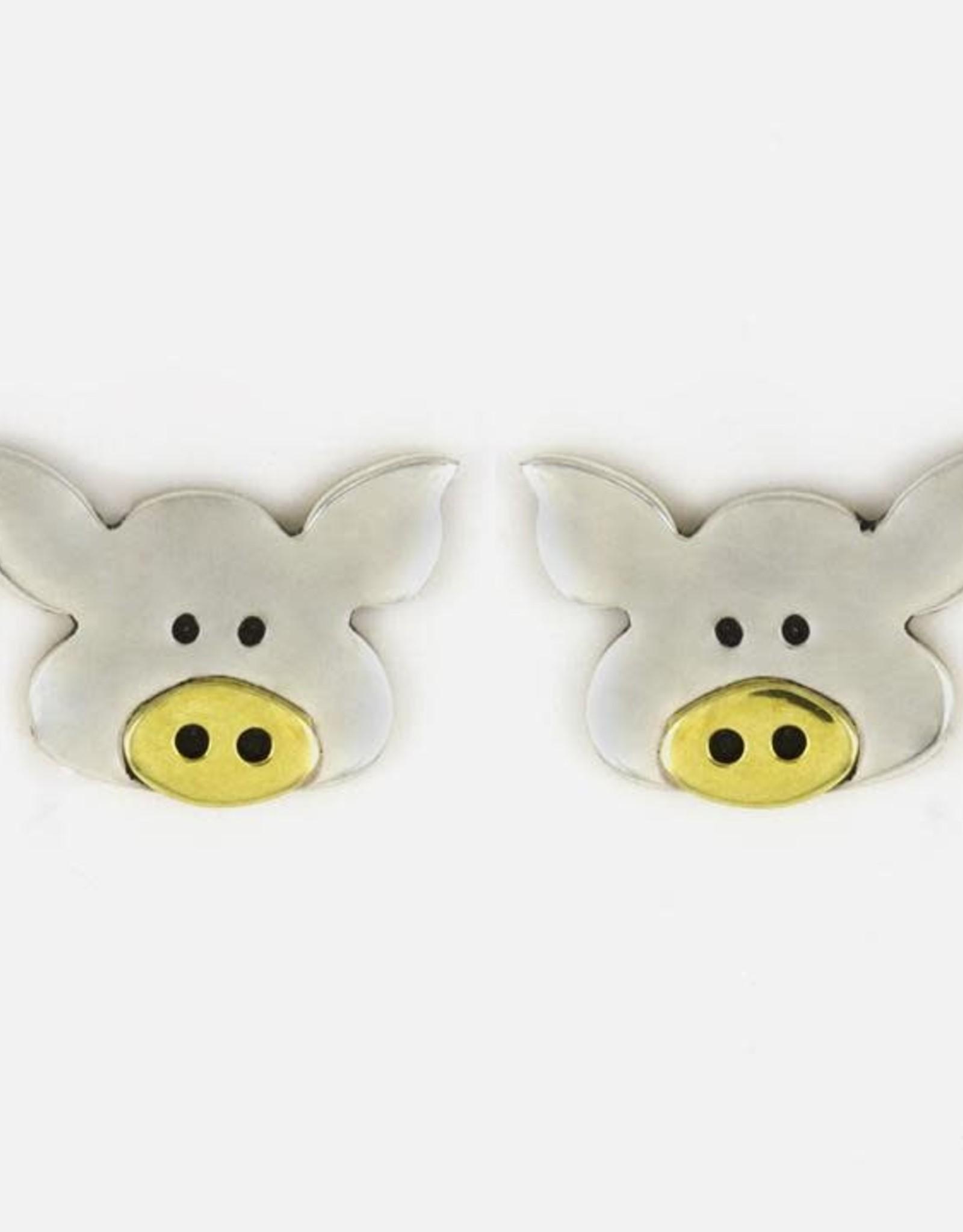 Sterling Silver Pig Post Earrings