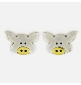Sterling Silver Pig Post Earrings, Mexico