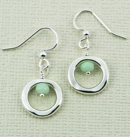 SS Cut Out Circle w/Amazonite Bead Wire