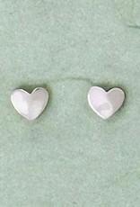 Sterling Silver Hammered Heart Post Earrings