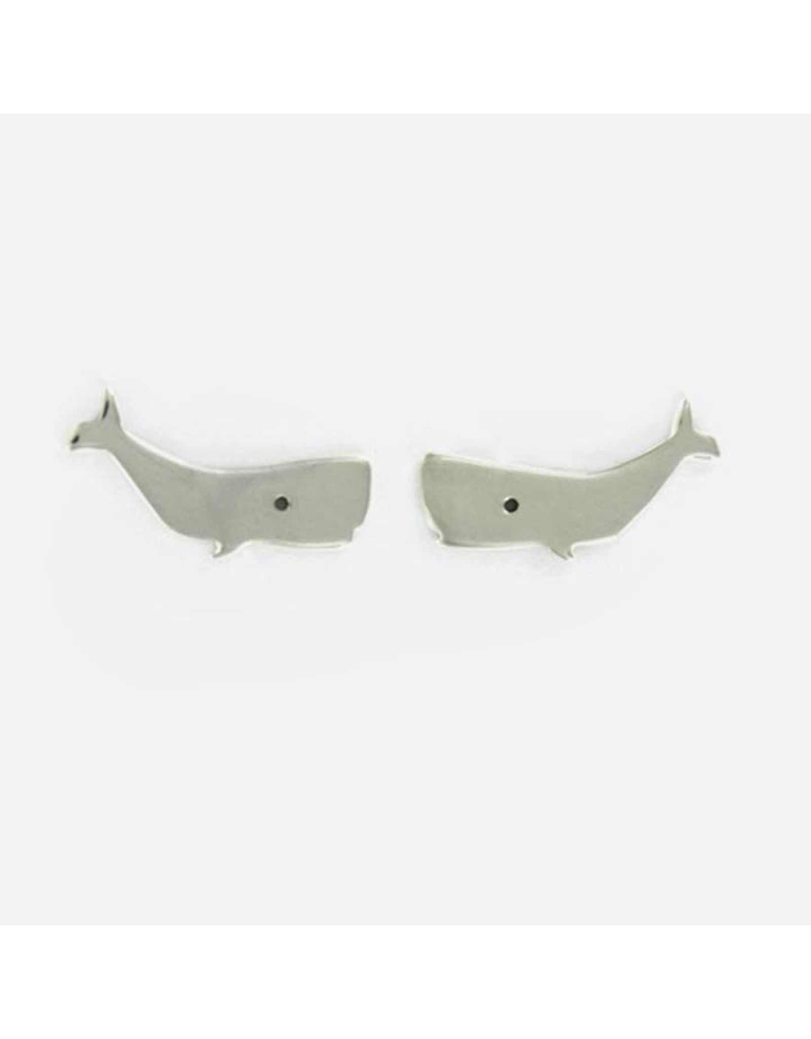 Sterling Silver Whale Post Earrings, Mexico