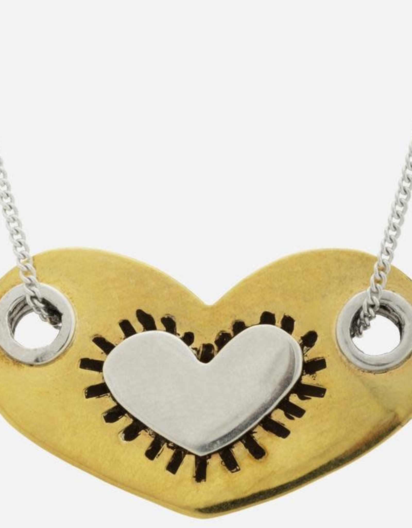 Mexico, Sterling Heart in a Heart Necklace