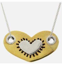 Sterling Heart in a Heart Necklace, Mexico