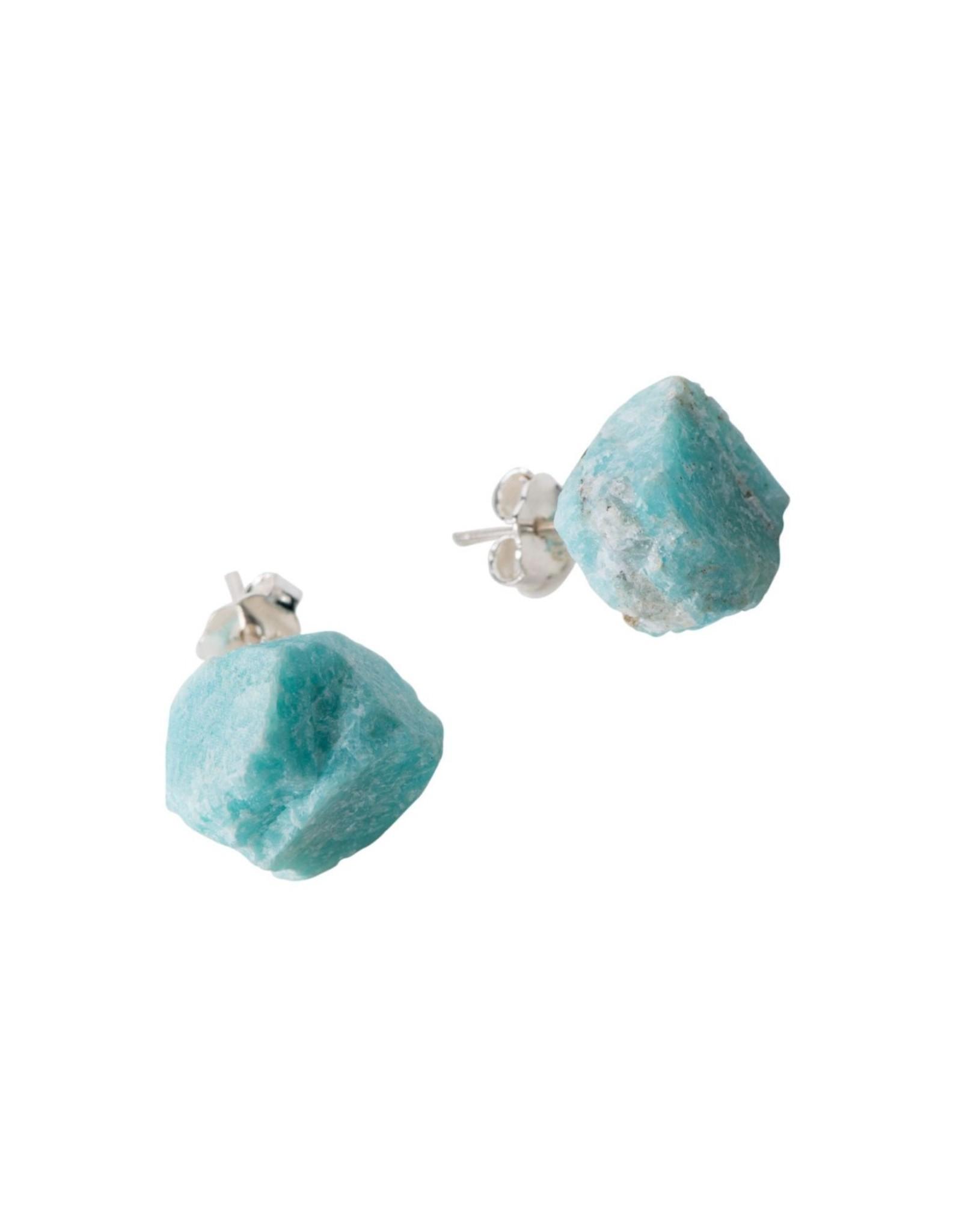 Amazonita Stone  Sterling Post Earrings