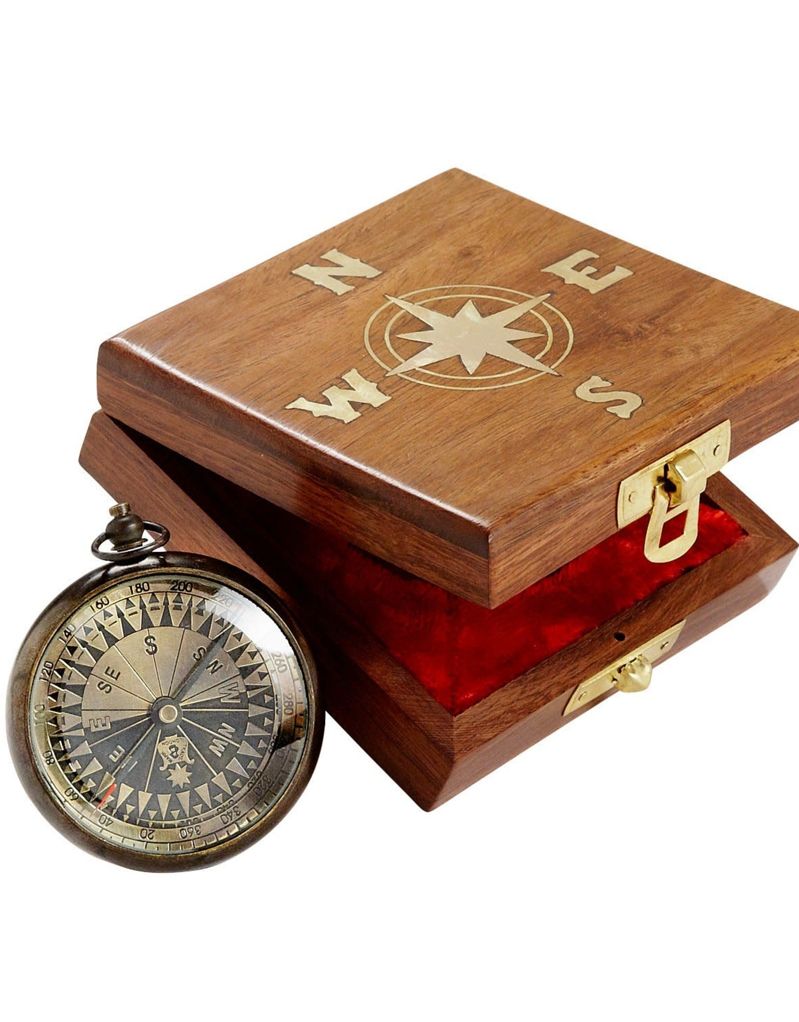 India, True North Compass in Wood Box