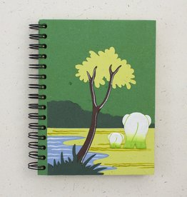 Sri Lanka, Mr. Ellies Pooh Large Notebook   Elephant on Green