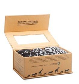 India, Conscious Socks Box Set  Protect Wild Animals (Giraffes, Cheetahs,  Zebras) Small