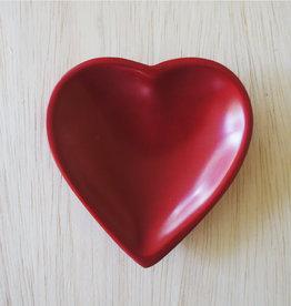 Kenya, Soapstone Small Red Heart Dish w/ no design