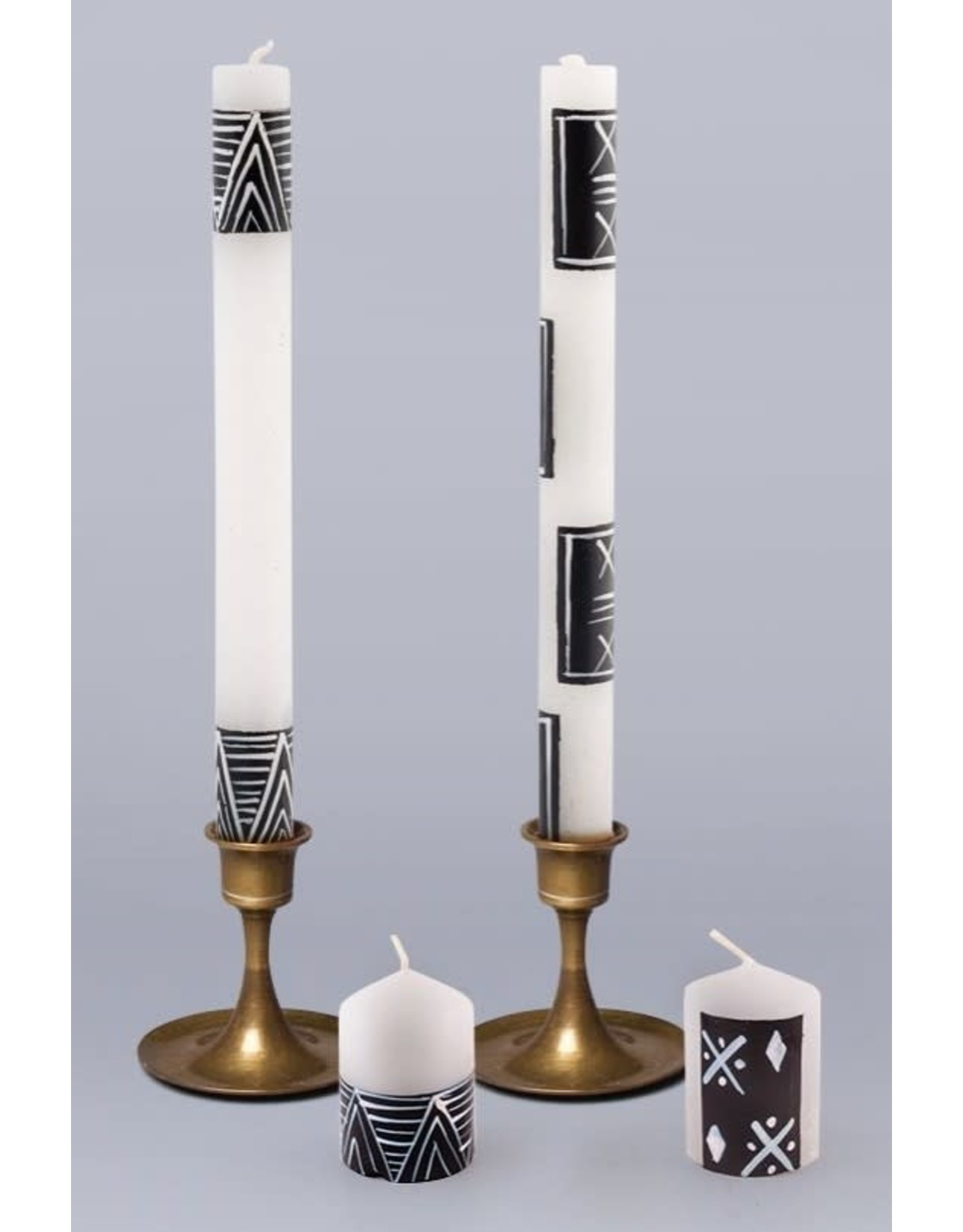 """Mudcloth, Pair Taper Candles 9"""",  South Africa"""