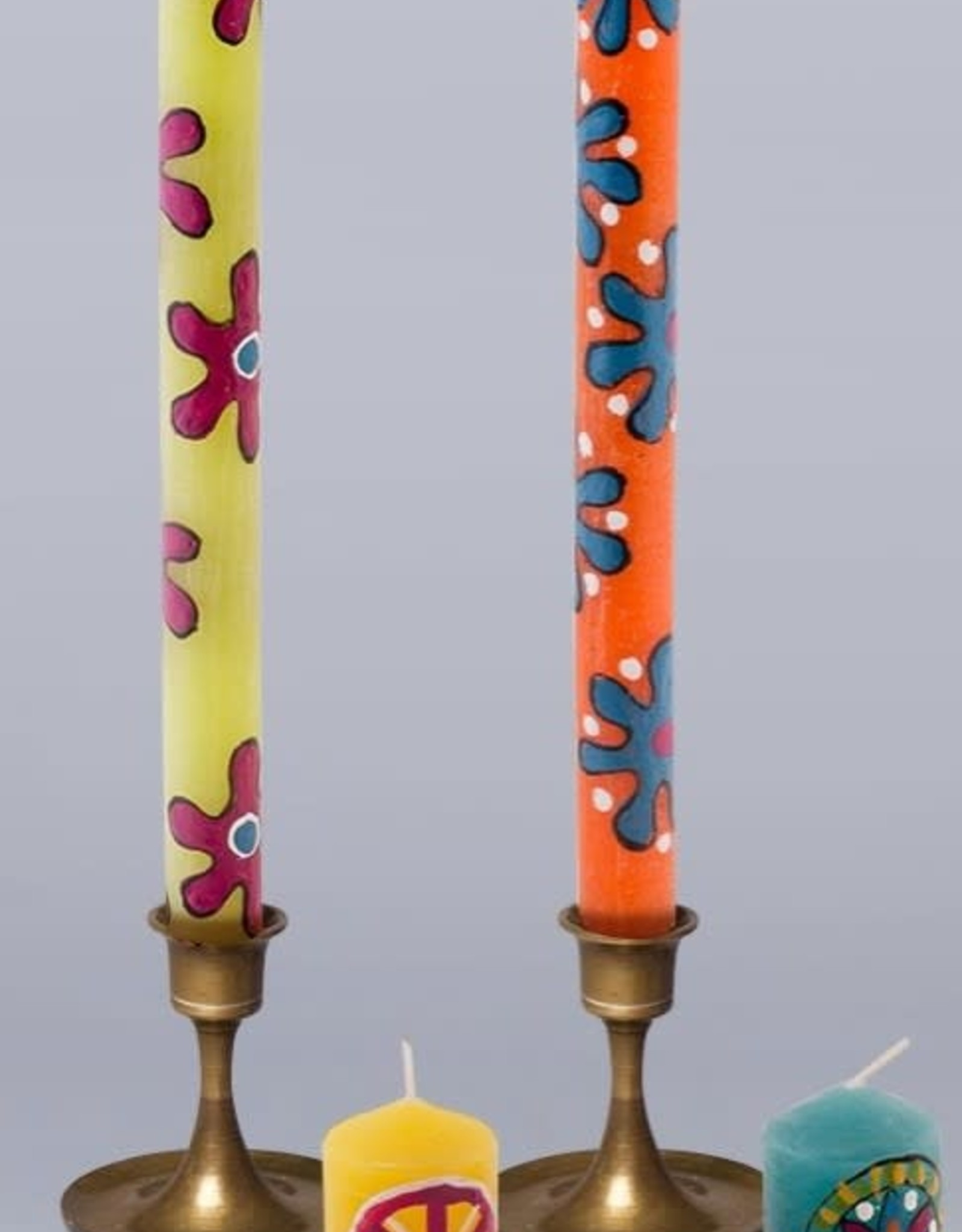 "South Africa, Pair Taper Candles 9"" Hippie"