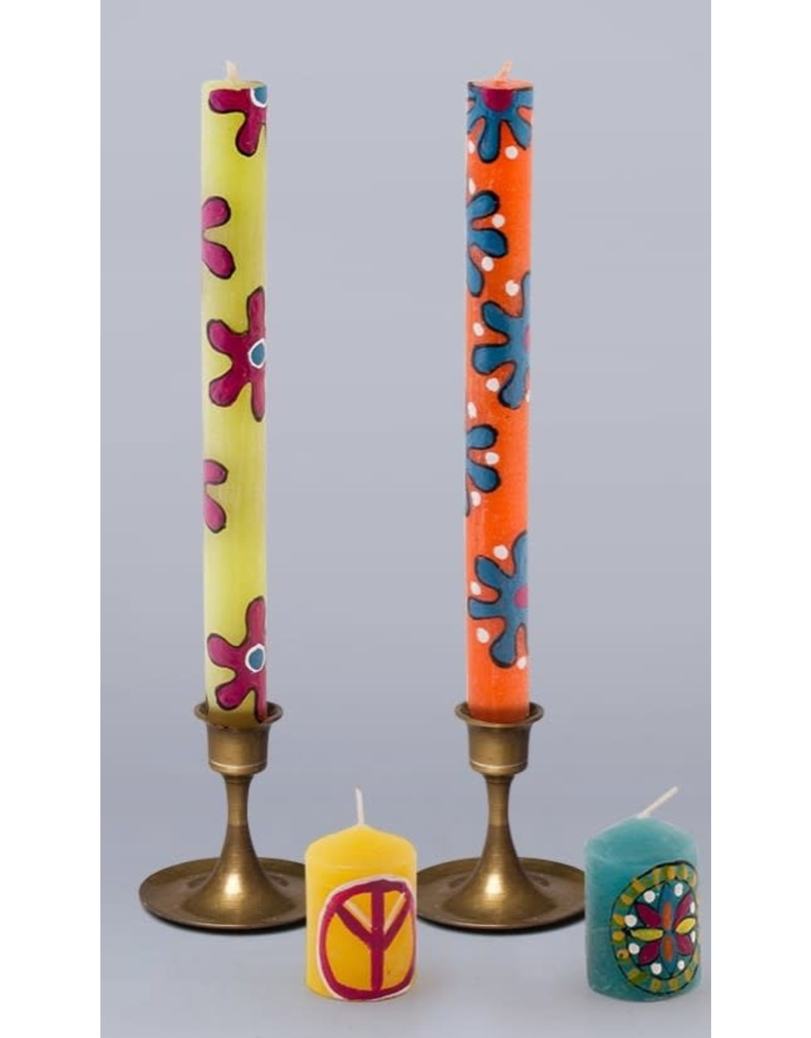 """South Africa, Pair Taper Candles 9"""" Hippie"""