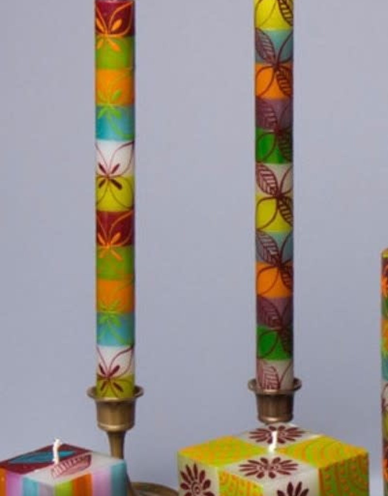 """South Africa, Pair Taper Candles 9"""" Magic Garden"""