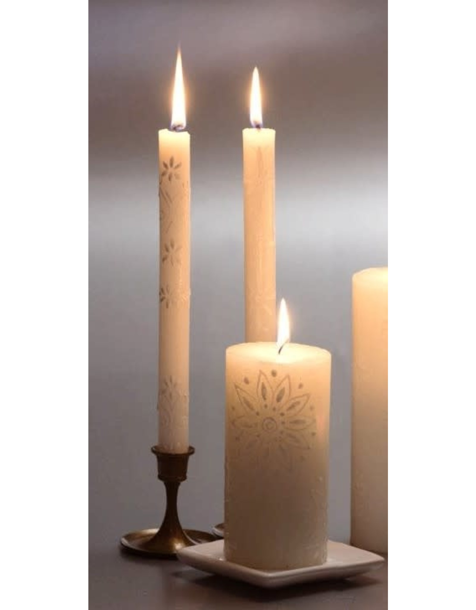 """White on White, Pair Taper Candles 9"""", South Africa"""