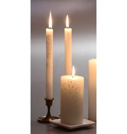 "South Africa,  Pair Taper Candles 9"" White on White"