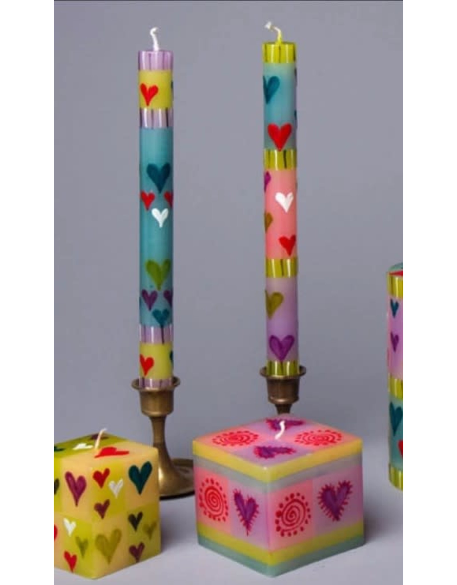"""South Africa, Pair Taper Candles 9"""" Pastel Hearts"""