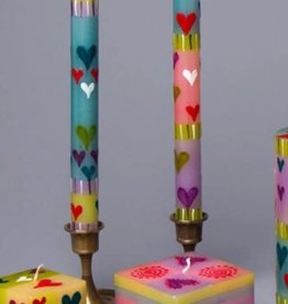 "South Africa, Pair Taper Candles 9"" Pastel Hearts"