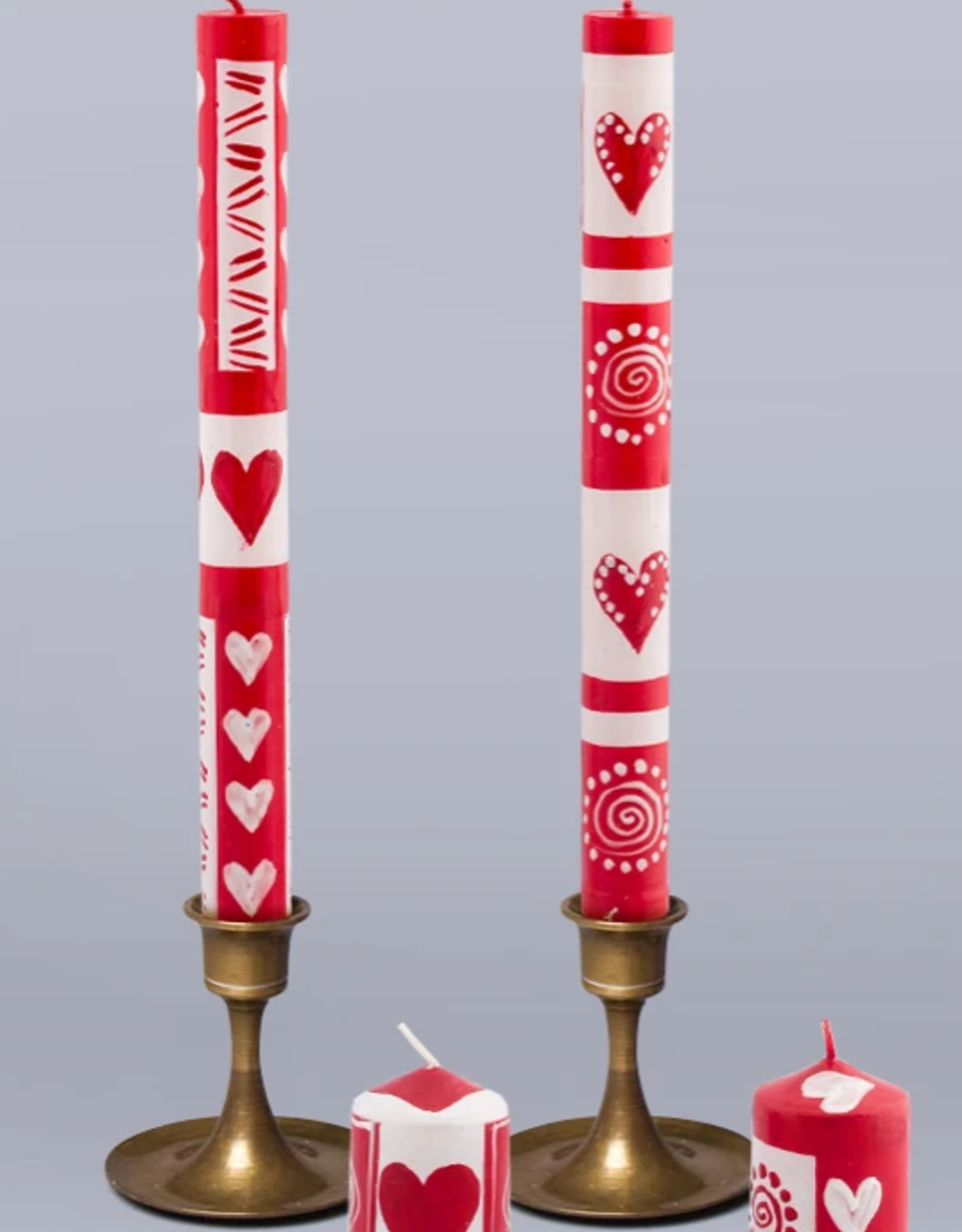 """South Africa, Pair Taper Candles 9"""" Valentine's Day"""