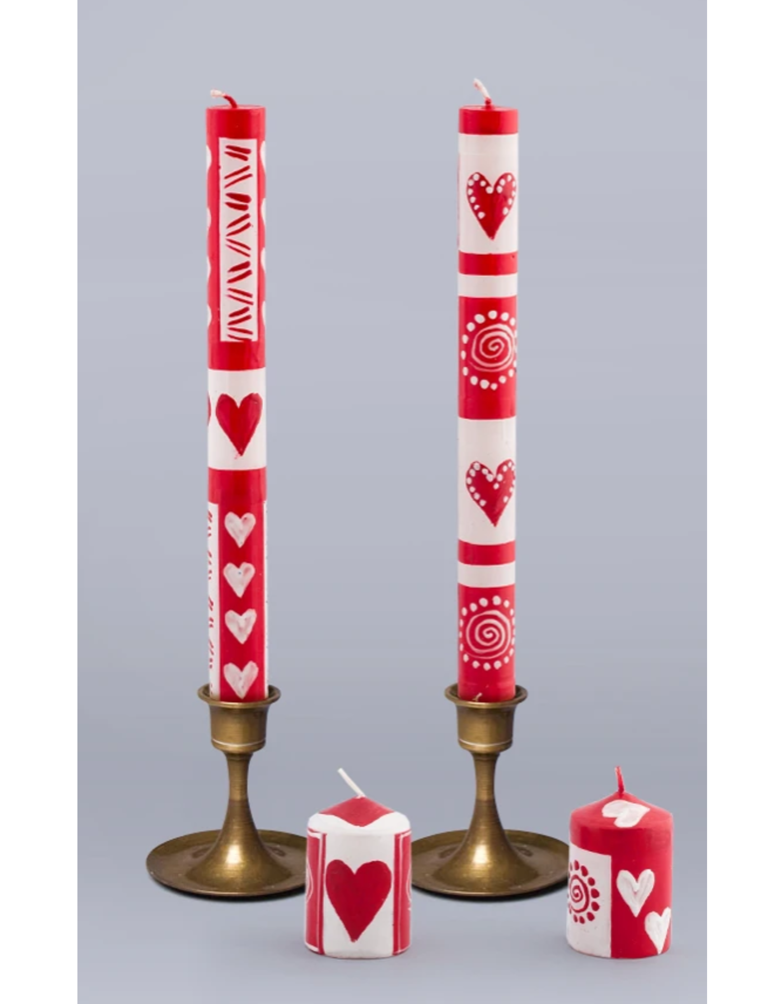 "South Africa, Pair Taper Candles 9"" Valentine's Day"