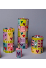 """Pastel Hearts, Pillar Candle 3""""x4"""",  South Africa"""