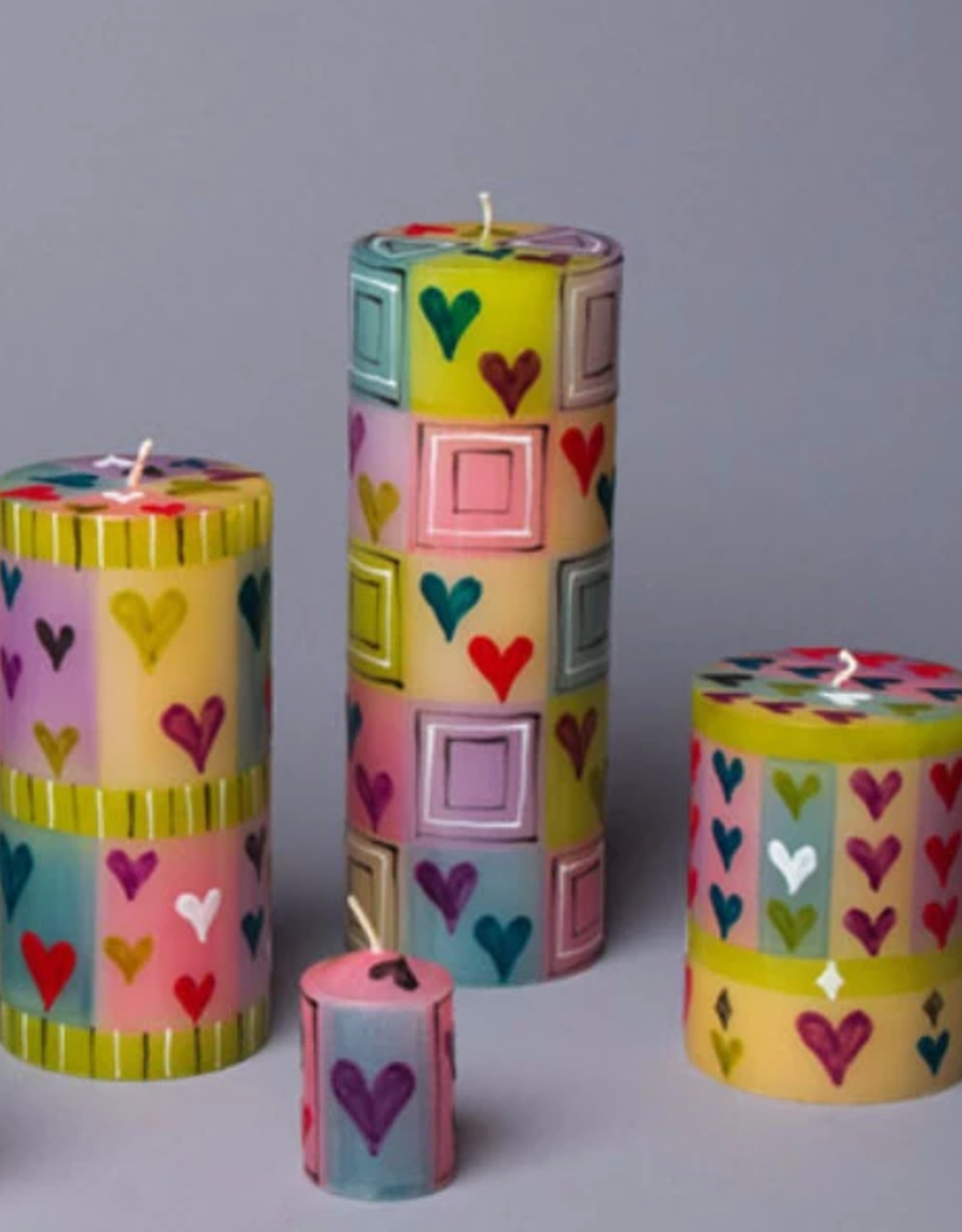 "South Africa, Pillar Candle 3""x4"" Pastel Hearts"