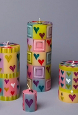 "South Africa, Cube Candle 2""x2""x3"" Pastel Hearts"