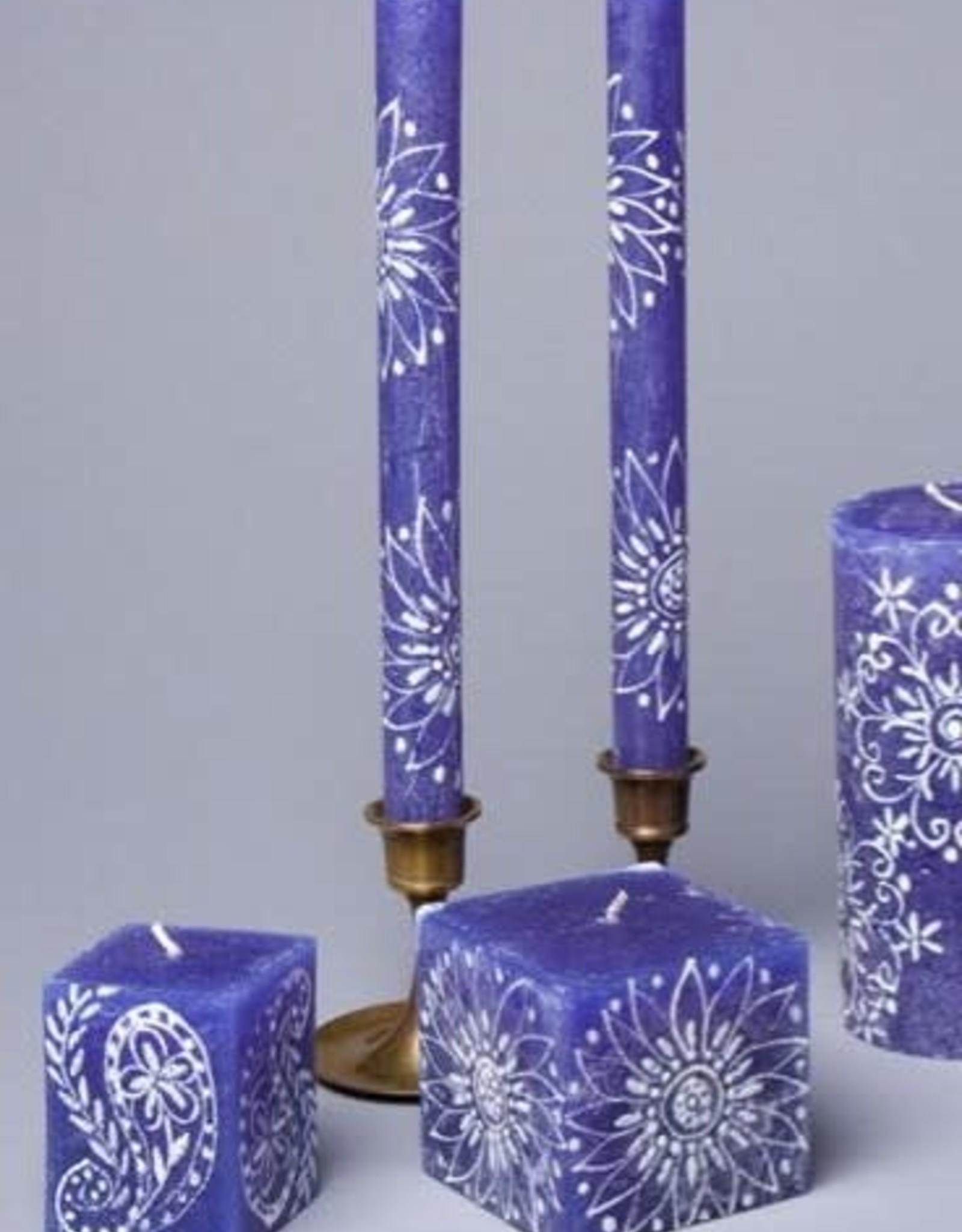 "South Africa, Pair Taper Candles 9"" Henna White on Blue"