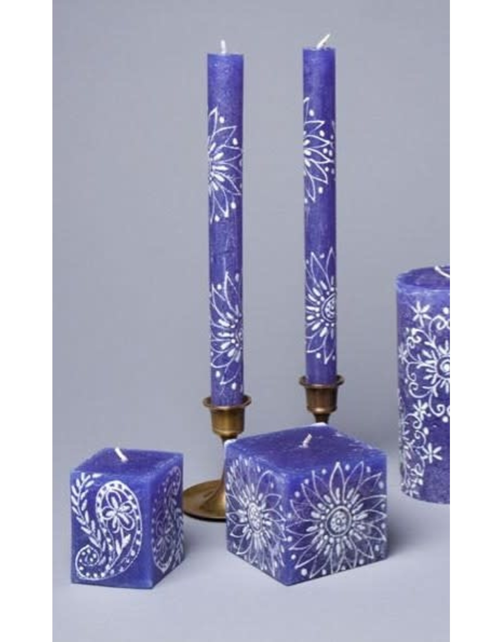 "Henna White on Blue,  Pair Taper Candles 9"", South Africa"