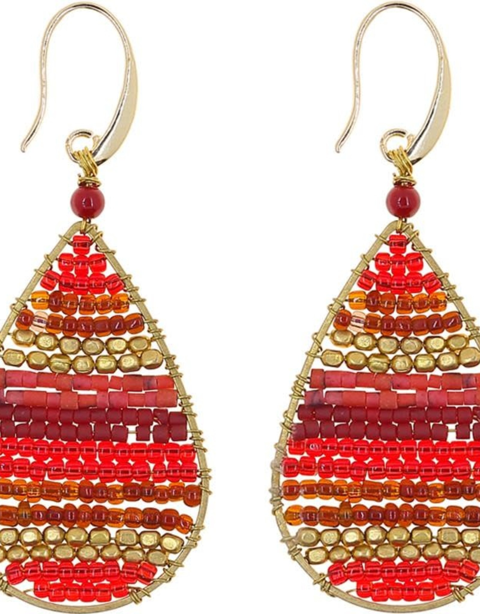 Akha Earrings- Lauren  Red