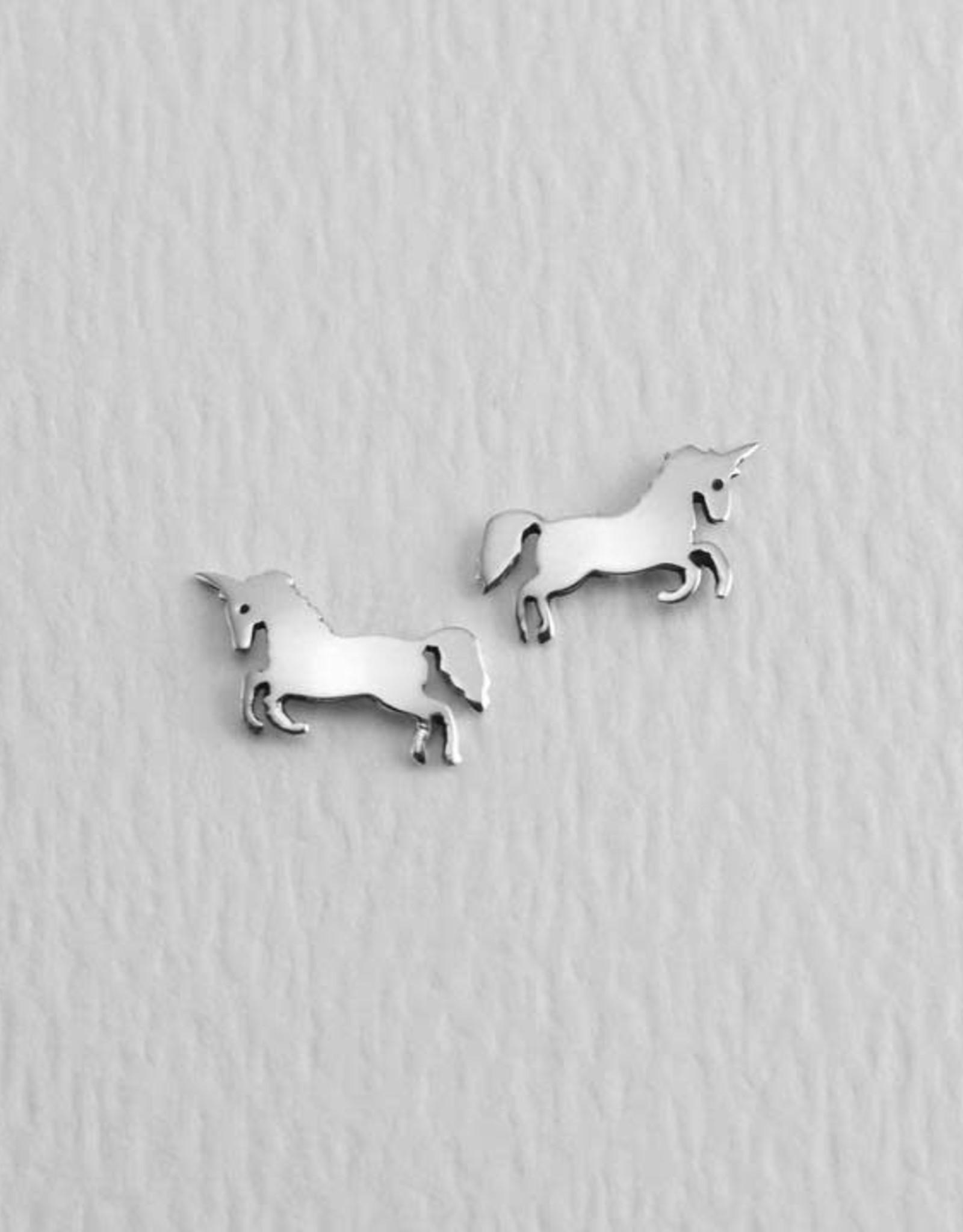 Sterling Silver Unicorn Post Earrings