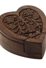 Wood Heart Puzzle Box, India