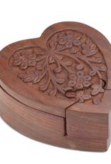 Wood Heart Puzzle Box