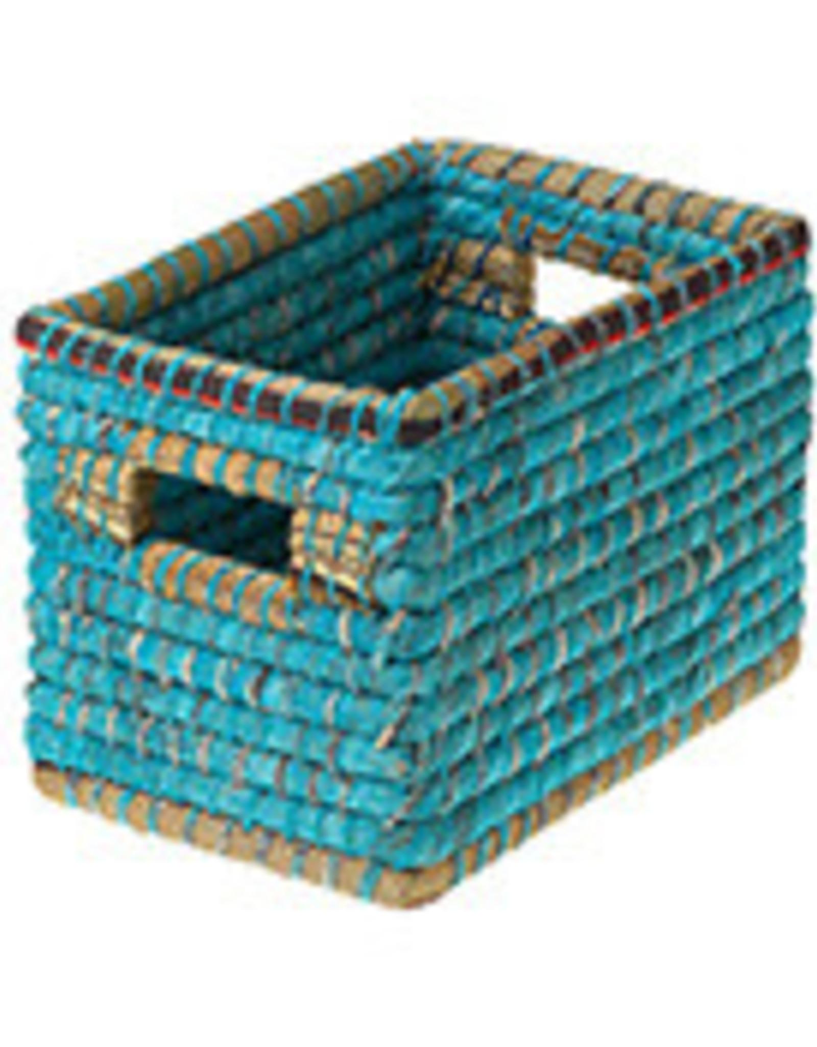 Small Chindi Basket, Bangladesh, Teal