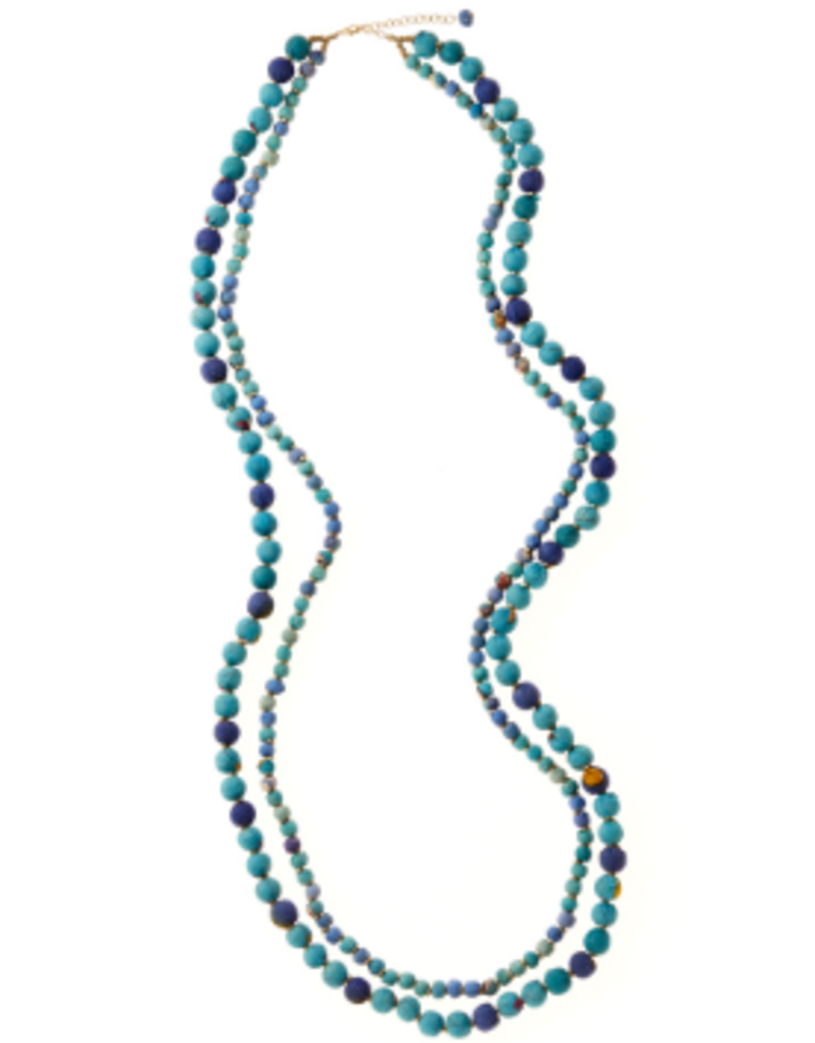 India, Neela 2 strand sari necklace