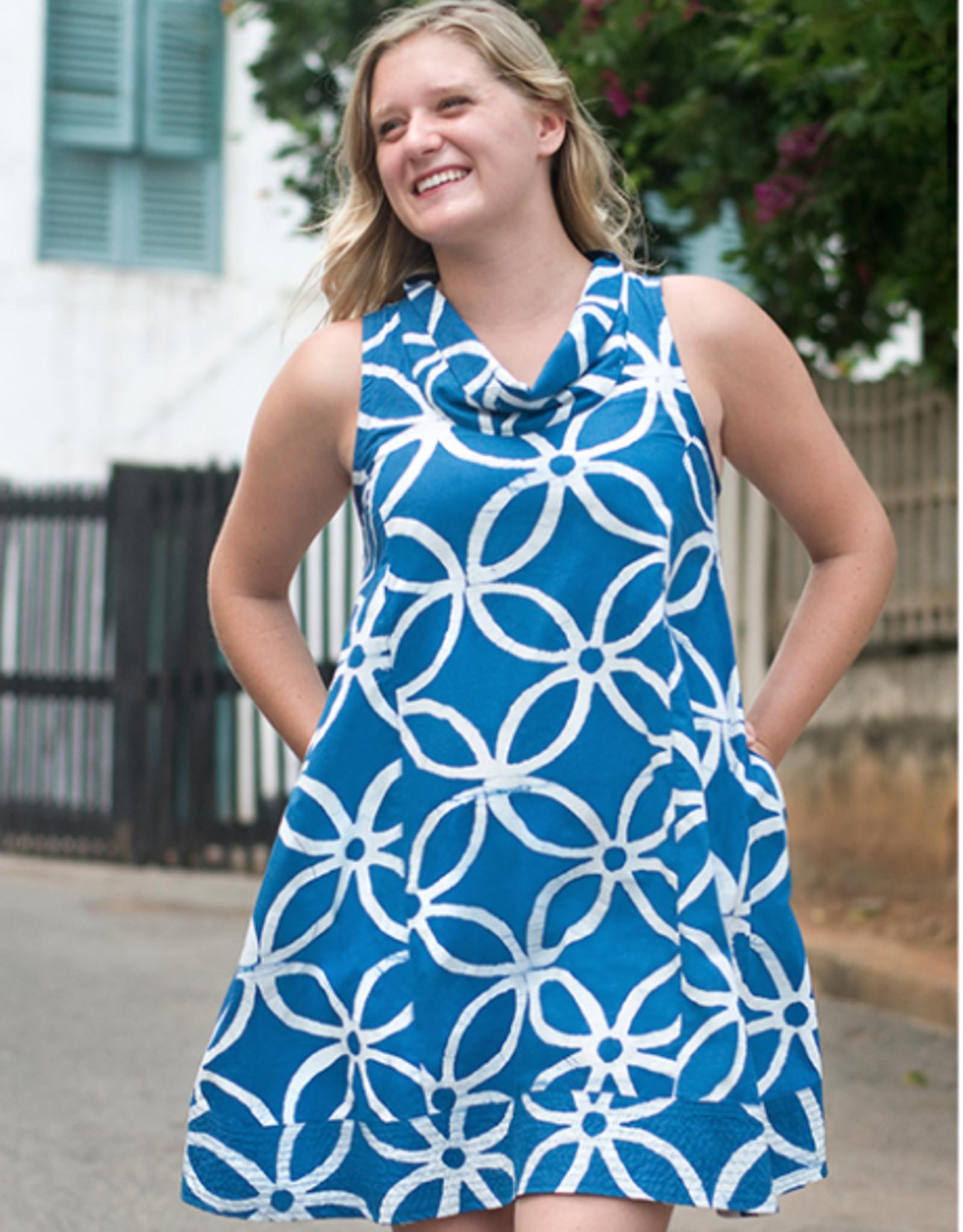 Eli Cutout Dress, Indigo Small, Ghana