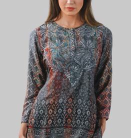 feb19 Deena Tunic,  S Steel Blue, India