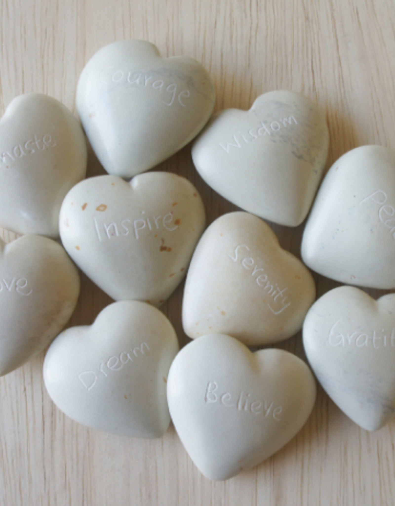 Kenya, Natural Word Hearts Soapstone