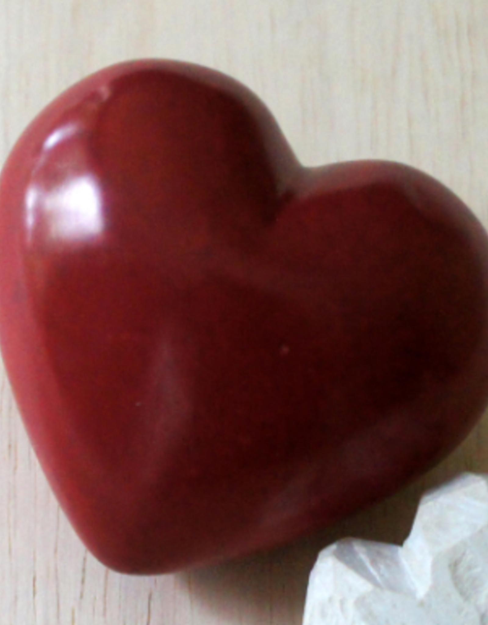 Kenya, Soapstone Plain Heart  paperweight Red